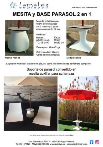 Mesa pie parasol Atenea y Keops